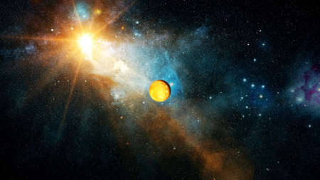 Realistic beautiful planet Mercury from deep space Stock Photo