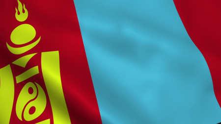 Realistic Mongolia flag