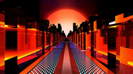 sci-fi city of the neon skyscrapers.