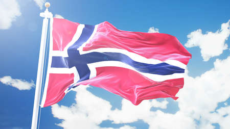 flag of Norway waving against time-lapse clouds background.