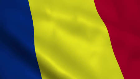 Realistic Romanian flag 3D rendering Imagens