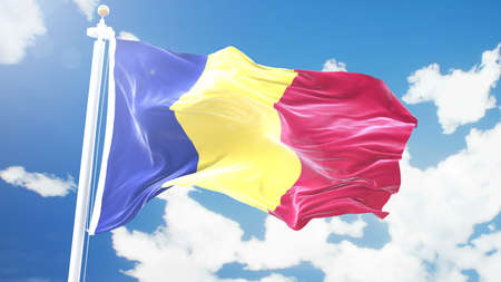 flag of Romania waving against time-lapse clouds background. 3D rendering Imagens