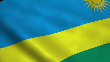 Realistic Rwanda flag 3D rendering