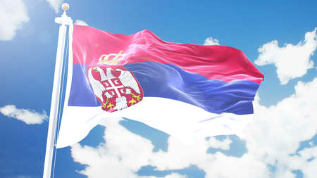 flag of Serbia waving against time-lapse clouds background. 3D rendering