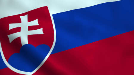 Realistic Slovakia flag waving in the wind. Stock Photo