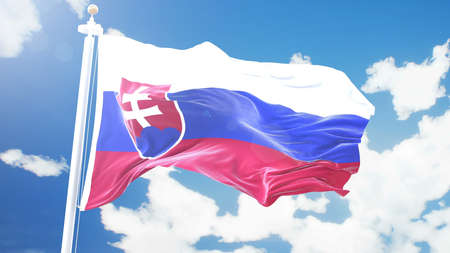 Realistic flag of Slovakia waving against time-lapse clouds background.