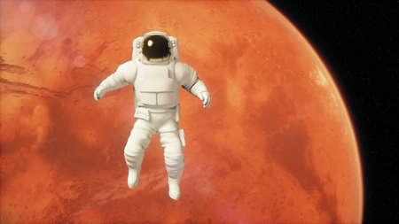 Astronauta nello spazio esterno sta volando sopra il pianeta Marte Archivio Fotografico - 100450026