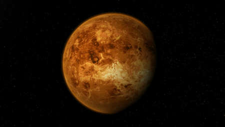 Realistic planet Venus from deep space.