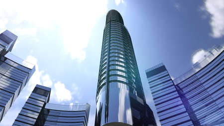 Business buildings skyscrapers with blue sky. Skyscrapers and modern architecture. 3D rendering Stock Photo
