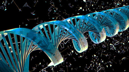 Background with rotating abstract DNA. 3D rendering Foto de archivo