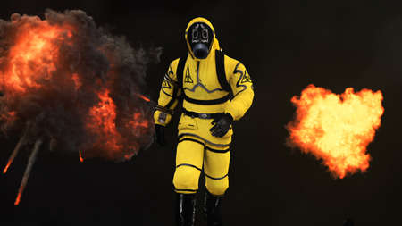 A man in a protective suit walks against the background of smoke and explosions. 3D rendering Foto de archivo - 101486647