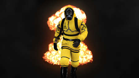 A man in a protective suit walks against the background of smoke and explosions. 3D rendering Banque d'images - 101486650