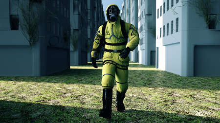 Man in protective hazmat walking in a deserted city. 3D rendering