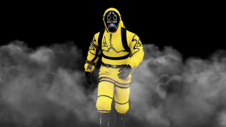 A man in a protective suit walks against the background of smoke. 3D rendering