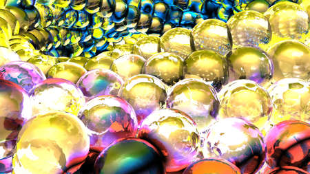 Ice abstract spheres rotating in slow motion. 3D rendering Stok Fotoğraf