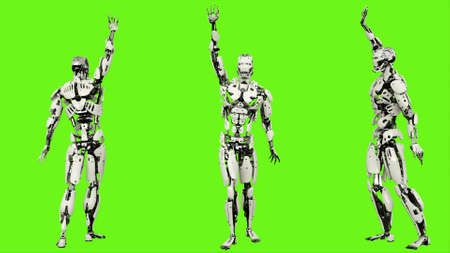 Robot is waving a greeting. Realistic looped motion on green screen background. 3D Rendering. 版權商用圖片