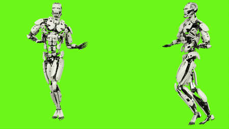 Robot with a graceful gait. Realistic looped motion on green screen background. 3D Rendering. Stock Photo