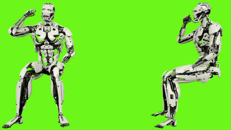 Robot is emotionally reacts and waves fist. Realistic looped motion on green screen background. 3D Rendering.