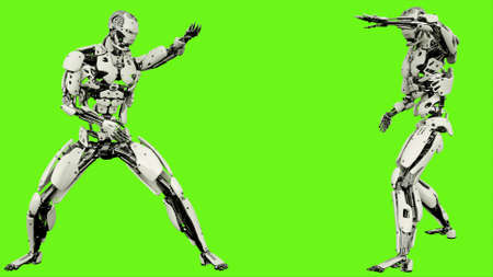 Robot is shows your fighting skills Realistic looped motion on green screen background. 3D Rendering. Stock Photo