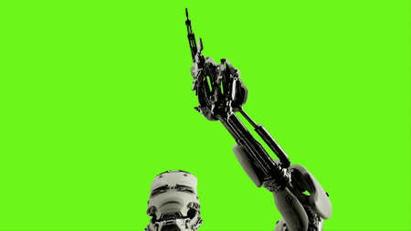 Robot presses the keys. Realistic looped motion on green screen background. 3D Rendering.