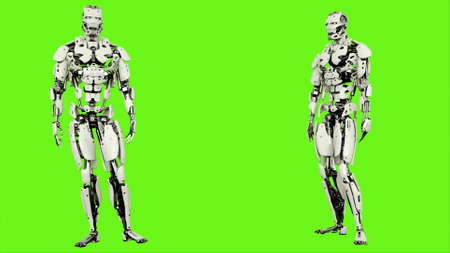 Robot is agreeing. Realistic looped motion on green screen background. 3D Rendering.