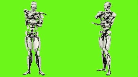 Robot is arm stretching. Realistic looped motion on green screen background. 3D Rendering.