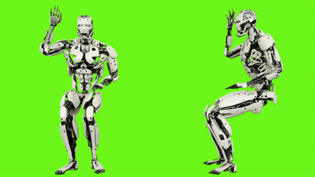 Robot  is asking question. Realistic looped motion on green screen background. 3D Rendering. Stock Photo