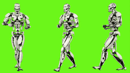 Robot  is backwards rife walk. Realistic looped motion on green screen background. 3D Rendering.