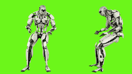 Robot is banging fist. Realistic looped motion on green screen background. 3D Rendering.