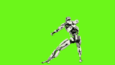 Robot android is launches a ball of energy. Realistic looped motion on green screen background. 3D Rendering.