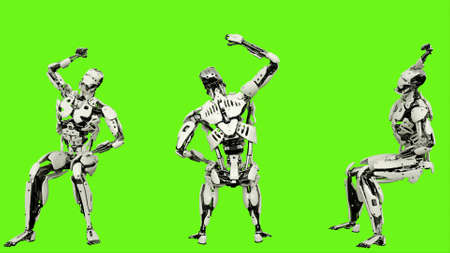 Robot  is cheering while sitting. Realistic looped motion on green screen background. 3D Rendering. 写真素材