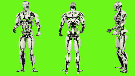 Robot is drunk idle. Realistic looped motion on green screen background. 3D Rendering.
