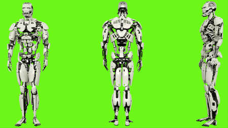 Robot is entering code. Realistic looped motion on green screen background. 3D Rendering.