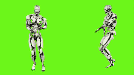 Robot  is dancing hip hop. Realistic looped motion on green screen background. 3D Rendering. Stok Fotoğraf