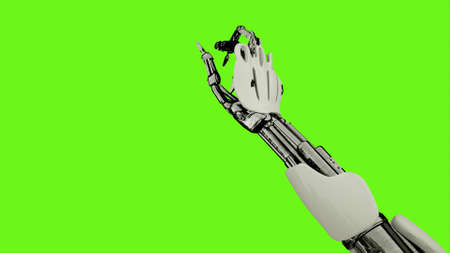 Robot  is presses the button. Realistic looped motion on green screen background. 3D Rendering.