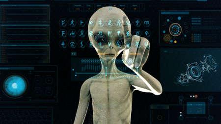 Alien presses the keys on sci-fi hologram screen. Realistic motion background. 3D Rendering.