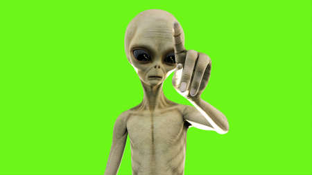 Alien presses the button on green screen. 3D Rendering. Stock Photo
