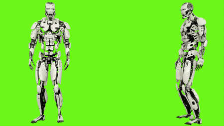 Robot android looks into the distance. Realistic motion on green screen. 3D Rendering.