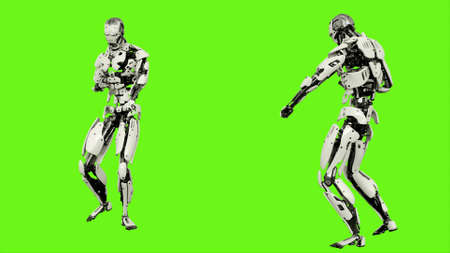 Robot android launches a ball of energy. Realistic motion on green screen. 3D Rendering. 版權商用圖片