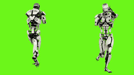 Robot android running with a gun. Realistic motion on green screen. 3D Rendering.