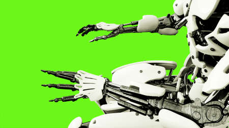 Robot android playing the piano. Realistic motion on green screen. 3D Rendering. 版權商用圖片