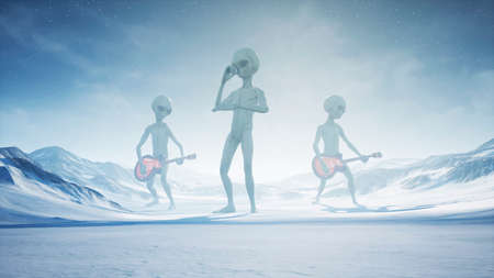 Aliens sing and play guitars on their home snow planet. 3D Rendering. Stock Photo