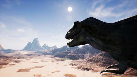 T Rex Tyrannosaur Dinosaur animation in desert. realistic render. 3D Rendering.