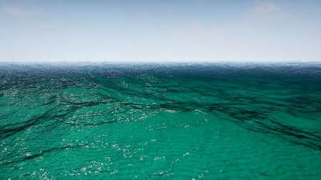 Flying over calm ocean blue sky. 3D Rendering.