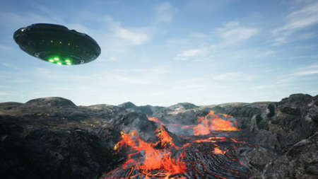 UFO is flying over the volcano. 3D Rendering.