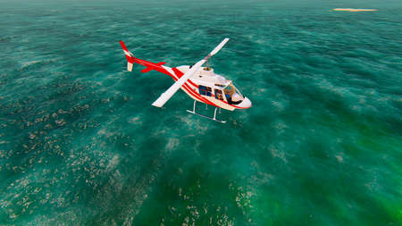 Helicopter flying over the pacific ocean on a sunny day. 3D Rendering