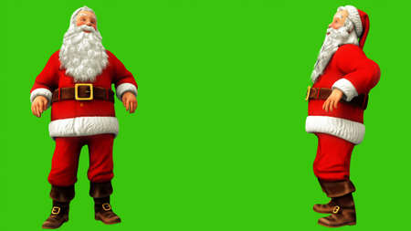 Santa claus dancing on green screen during Christmas. 3D Rendering
