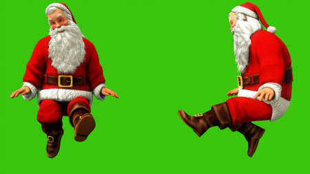 Cheerful Santa Claus is waving his feet on the green screen during Christmas. 3D Rendering