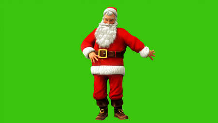 Cheerful Santa Claus is spinning on the green screen during Christmas. 3D Rendering