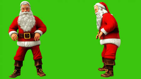 Santa Claus was sitting and jumped from the push on the green screen during Christmas. 3D Rendering